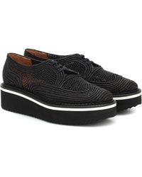 Clergerie Birdie Raffia Flatform Derby Shoes - Black
