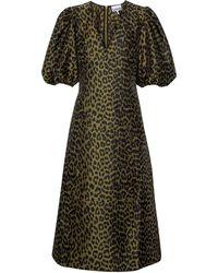 Ganni - Robe midi à motif léopard - Lyst