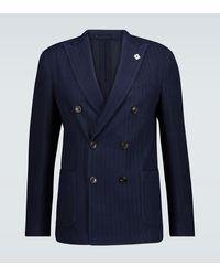 Lardini Blazer en mailles de coton mélangé - Bleu