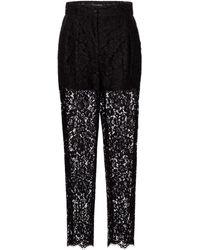 Dolce & Gabbana Pantalon en dentelle de coton mélangé - Noir