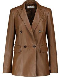 Max Mara Ande Leather Blazer - Brown