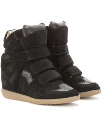 Isabel Marant Sneakers Bekett in suede con zeppa - Nero