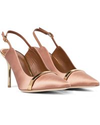 Malone Souliers Marion 85 Satin Slingback Pumps - Pink
