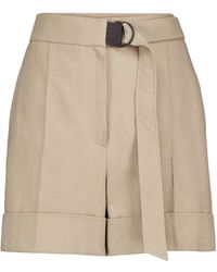 Brunello Cucinelli Embellished Cotton And Linen Shorts - Natural