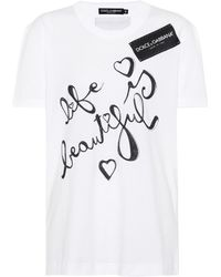 Dolce & Gabbana - Printed Cotton T-shirt - Lyst