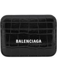 Balenciaga Porte-cartes Everyday en cuir embossé - Noir