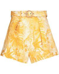 Zimmermann Shorts Mae de lino de tiro alto - Amarillo
