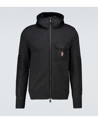3 MONCLER GRENOBLE Tricot Wool And Nylon Zipped Jumper - Grey