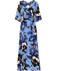 Diane von Furstenberg Printed Silk Maxi Dress - Blue