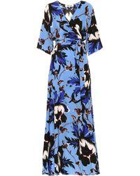 Diane von Furstenberg Robe portefeuille longue en soie imprimée - Bleu