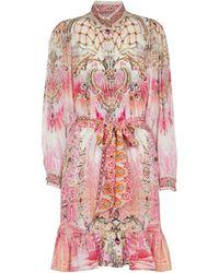 Camilla Exklusiv bei Mytheresa – Bedrucktes Minikleid aus Seide - Pink