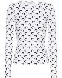 Marine Serre Top in jersey con stampa - Bianco