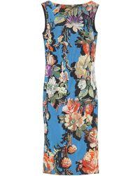 Dries Van Noten Floral Brocade Midi Dress - Blue