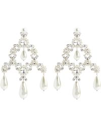 Simone Rocha Faux Pearl And Crystal-embellished Earrings - White
