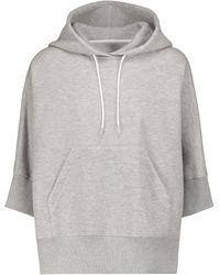 Sacai Sweat-shirt en coton mélangé à capuche - Gris