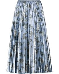 RED Valentino Floral Pleated Midi Skirt - Grey