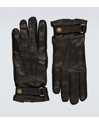 Gucci Cashmere-lined Leather Gloves - Black