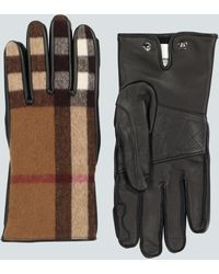Burberry Leather And Wool Gloves - Natural