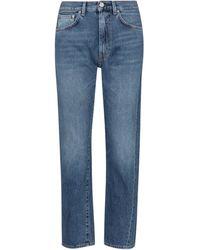 Totême Mid-rise Twisted-seam Straight Jeans - Blue