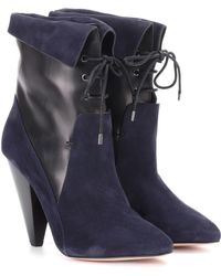 Veronica Beard Hawthorne Fine Suede Ankle Boots - Blue