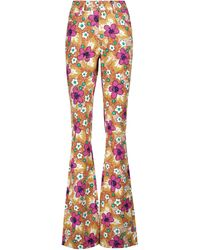 Alessandra Rich Floral-printed High-rise Trousers - Multicolour