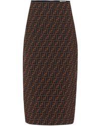 Fendi Ff Micromesh Midi Skirt - Brown