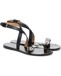 Isabel Marant Eldory Embellished Leather Sandals - Black