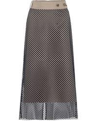 ROKH High-rise Mesh And Cotton Midi Skirt - Natural