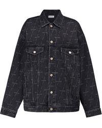 Balenciaga Veste en jean à logo - Noir