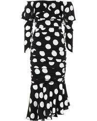 Dolce & Gabbana Gerafftes Midikleid Aus Stretch-seidensatin Mit Polka-dots - Schwarz