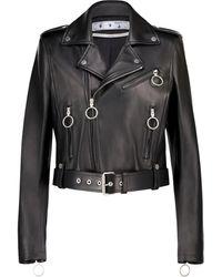 Off-White c/o Virgil Abloh Leather Biker Jacket - Black