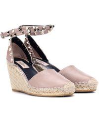 Valentino Espadrille-Wedges Rockstud aus Leder - Pink