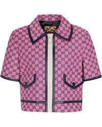 Gucci Veste GG en jacquard de coton mélangé - Rose