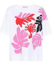 Marni - Bedrucktes T-Shirt aus Baumwolle - Lyst