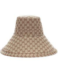 Gucci Sombrero de ala ancha de lona GG - Neutro