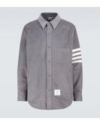 Thom Browne Hemd 4-Bar aus Baumwollcord - Grau