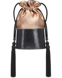 Hunting Season Borsa The Lola Drawstring in lizard e satin - Nero
