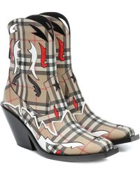 Burberry Matlock Canvas Ankle Boots - Multicolor