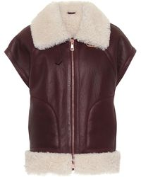 See By Chloé - Shearling And Leather Jacket - Lyst