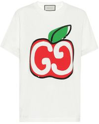 Gucci T-shirt With GG Apple Print - White