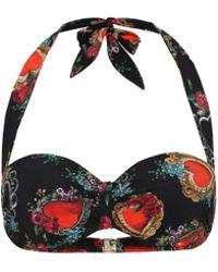 Dolce & Gabbana Top de bikini con estampado de corazones - Negro
