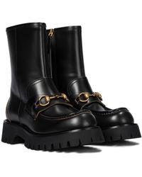 Gucci Ankle Boots Horsebit aus Leder - Schwarz