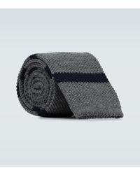 Brunello Cucinelli Gestreifte Krawatte aus Wolle - Blau