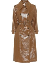 ALEXACHUNG Leather Trench Coat - Brown