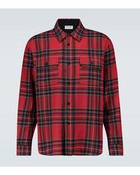 Saint Laurent Kariertes Hemd mit Wollanteil - Rot