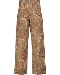 Etro Bedruckte High-Rise Jeans - Rot