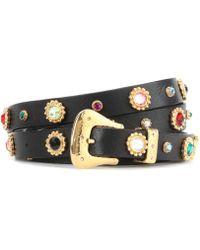 Dodo Bar Or Crystal-embellished Leather Belt - Black