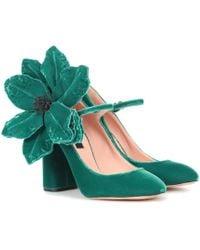 Rochas Velvet Mary Jane Pumps - Green