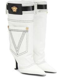 Versace Stivali in denim e pelle - Bianco