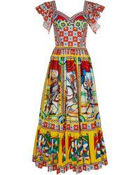 Dolce & Gabbana Printed Cotton-blend Poplin Midi Dress - Multicolour